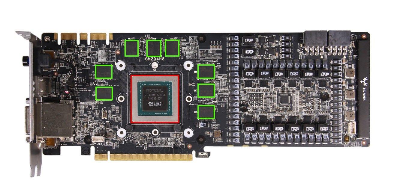 Sur le PCB de cette GTX 980, la VRAM est encadrée en vert et le GPU en rouge