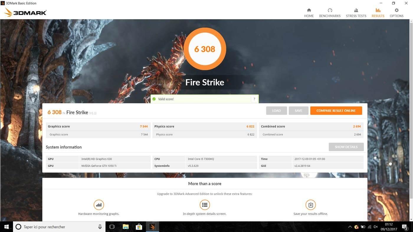 test acer nitro 5 benchmark 3dmark fire strike