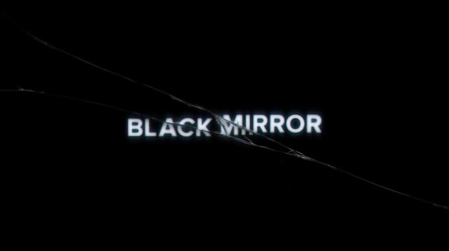 Le miroir noir qui se fendille, illustration de la dernière saison parue en 2017 de la série télé Black Mirror