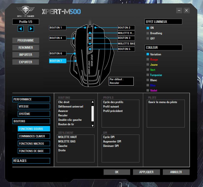Souris Spirit of Gamer Xpert-M500 logiciel