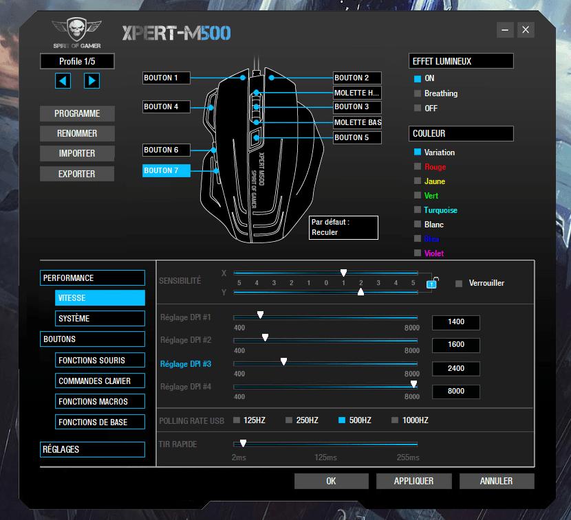 Souris Spirit of Gamer Xpert-M500 logiciel 2