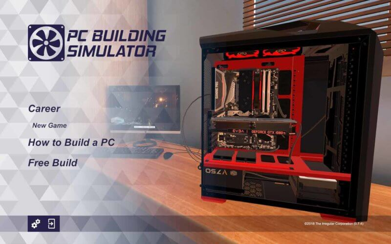 menu pc building simulator