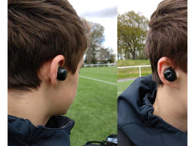 Photos des écouteurs mis en place