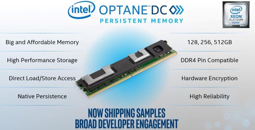 Slide présentant la barrette mémoire à base de 3D XPoint