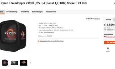 page produit du 2990X d'AMD