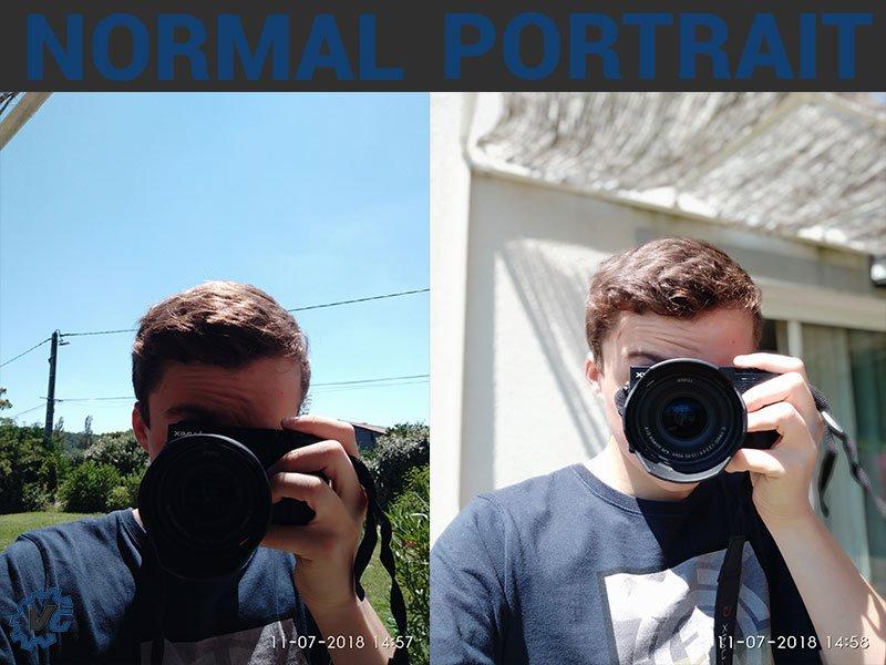 Comparatif mode portrait et sans mode portrait du capteur frontal