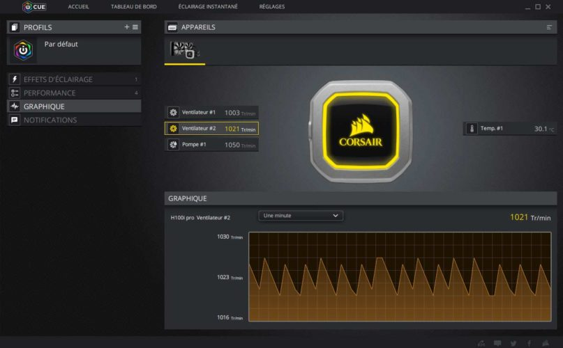 Test AiO Corsair h100i PRO RGB logiciel iCUE