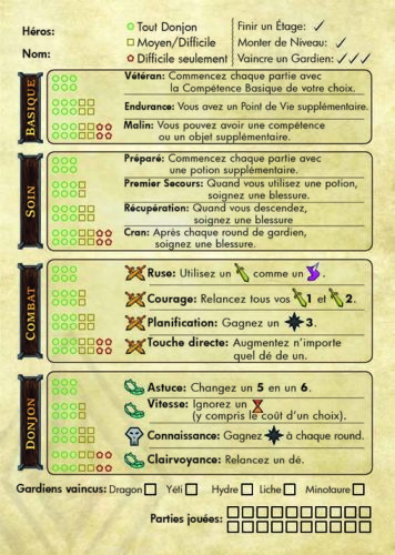 One Deck Dungeon feuille campagne