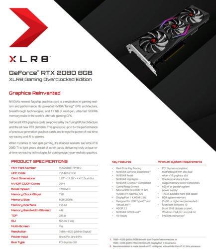 Carte graphique Nvidia PNY RTX 2080 XLR8