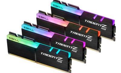 Quatre barrettes mémoires DDR4 de chez GSkill.