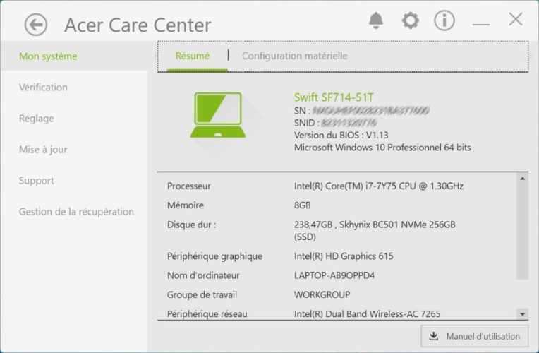 Acer Swift 7 Care Center