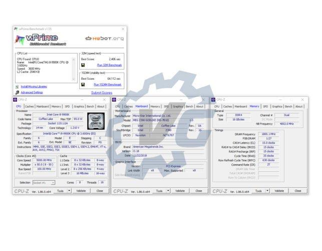 Les tests à 5 GHz sur la MSI Z390 GODLIKE.