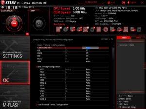 Le bios de la MSI MEG Z390 GODLIKE.