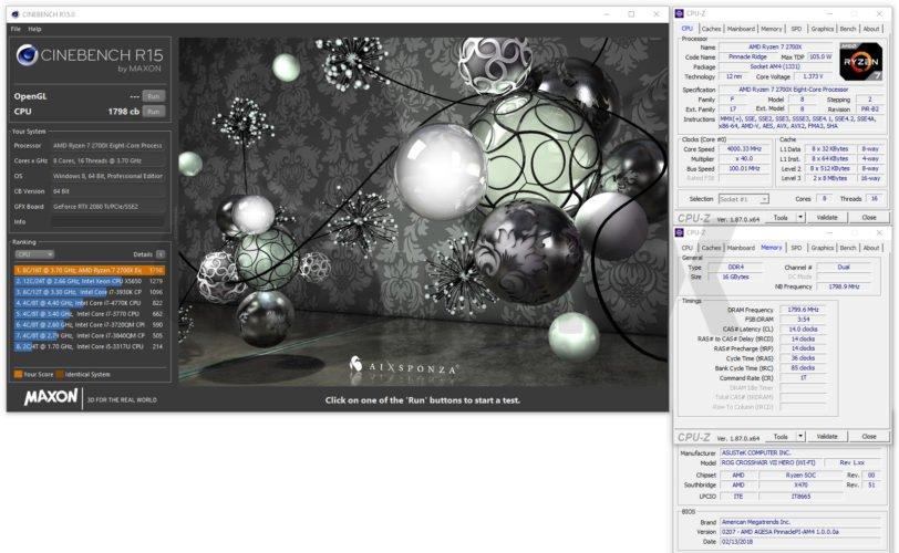 Cinebench R15 AMD Ryzen 2700X avec l'Asus Crosshair VII X470