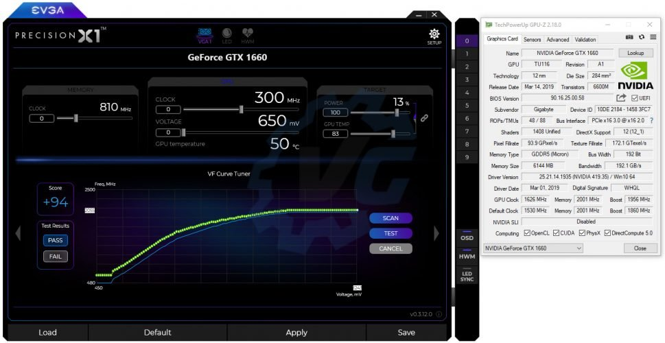 OC scanner avec la GTX 1660