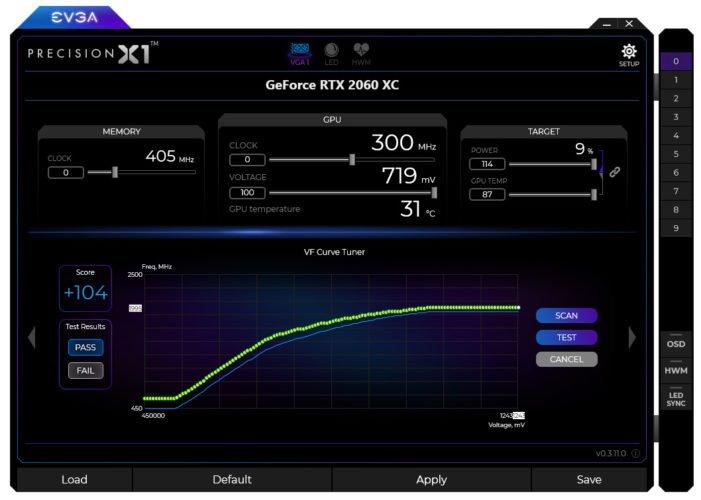 EVGA Precision X1 avec la EVGA RTX 2060 XC Gaming