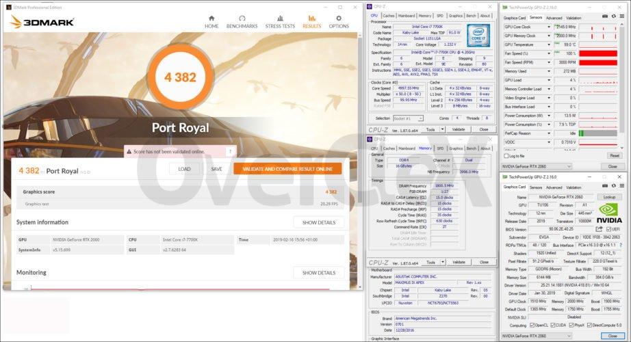 Benchamark overclocking avec la EVGA RTX 2060 XC Gaming