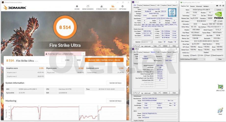 3DMark Fire Strike Ultra avec le Xeon W-3175X