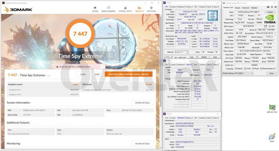 3DMark Time Spy Extreme avec le Xeon W-3175X