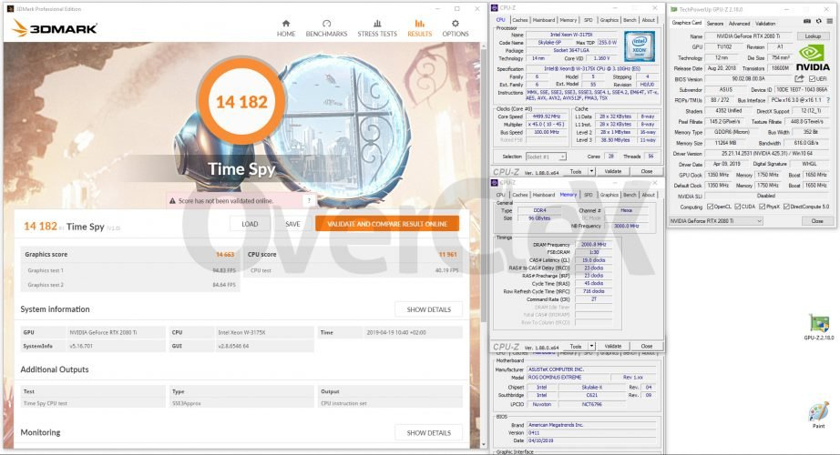 3DMark Time Spy avec le Xeon W-3175X