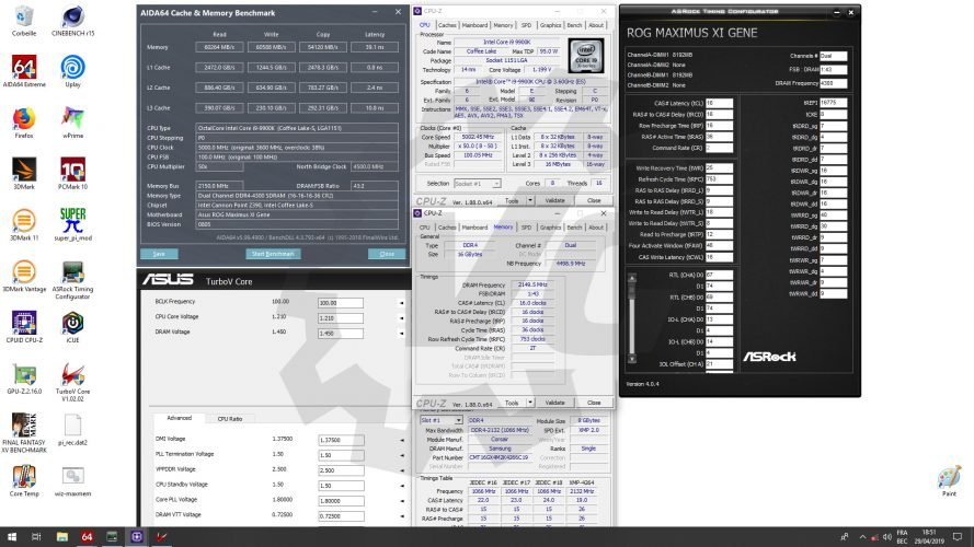 Benchmark overclocking Corsair Dominator Platinum RGB 4266 MHz