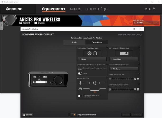 Arctis Pro Wireless -le logiciel dédié