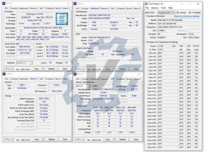 Le CPUZ de notre Xeon W-3175X