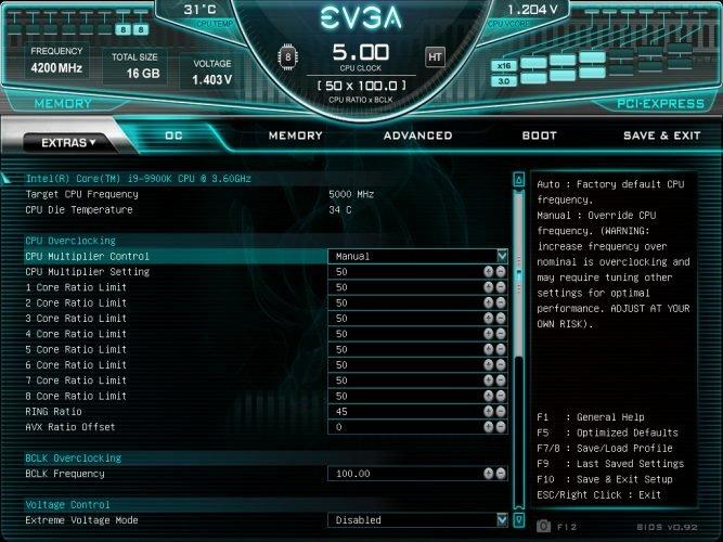 Le bios de la EVGA Z390 DARK