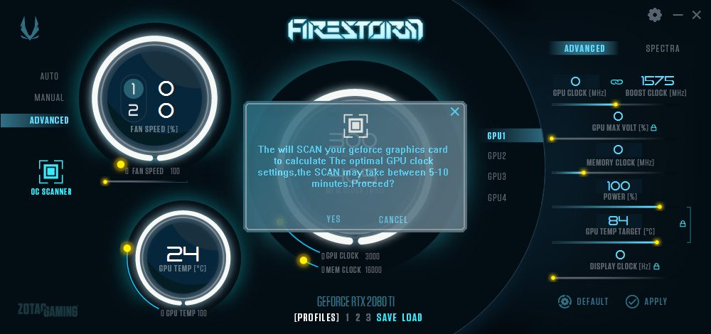 OC scanner avec le logiciel Zotac Firestorm