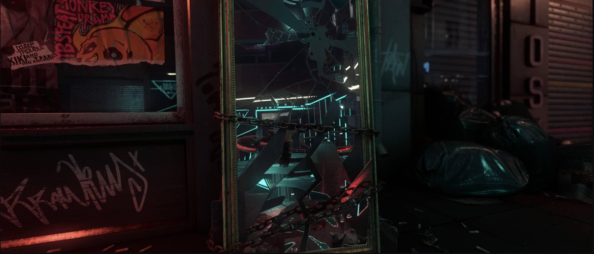 Miroir surface ultra réfléchissante Néon Noir
