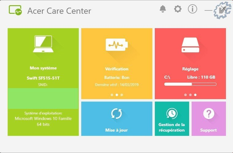 Acer Care Center logiciel