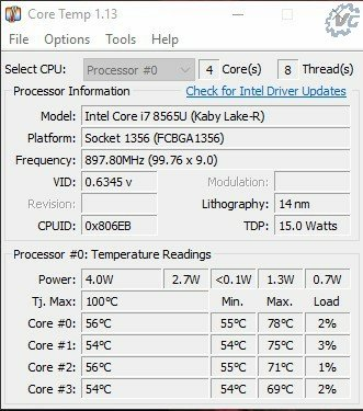 Core temp IDLE