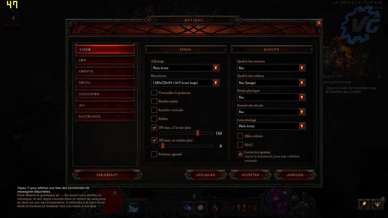 Configuration Diablo III
