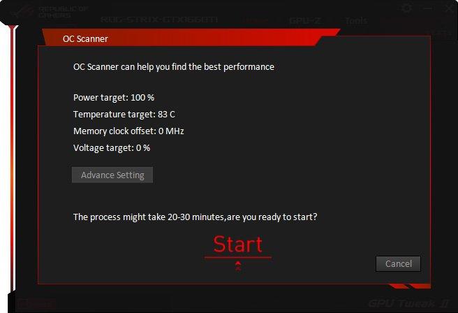 OC Scanner avec Asus GPU Tweak II