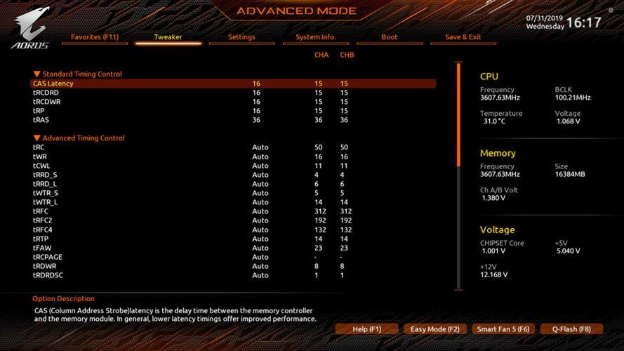 Le bios de la Gigabyte X570 Aorus PRO