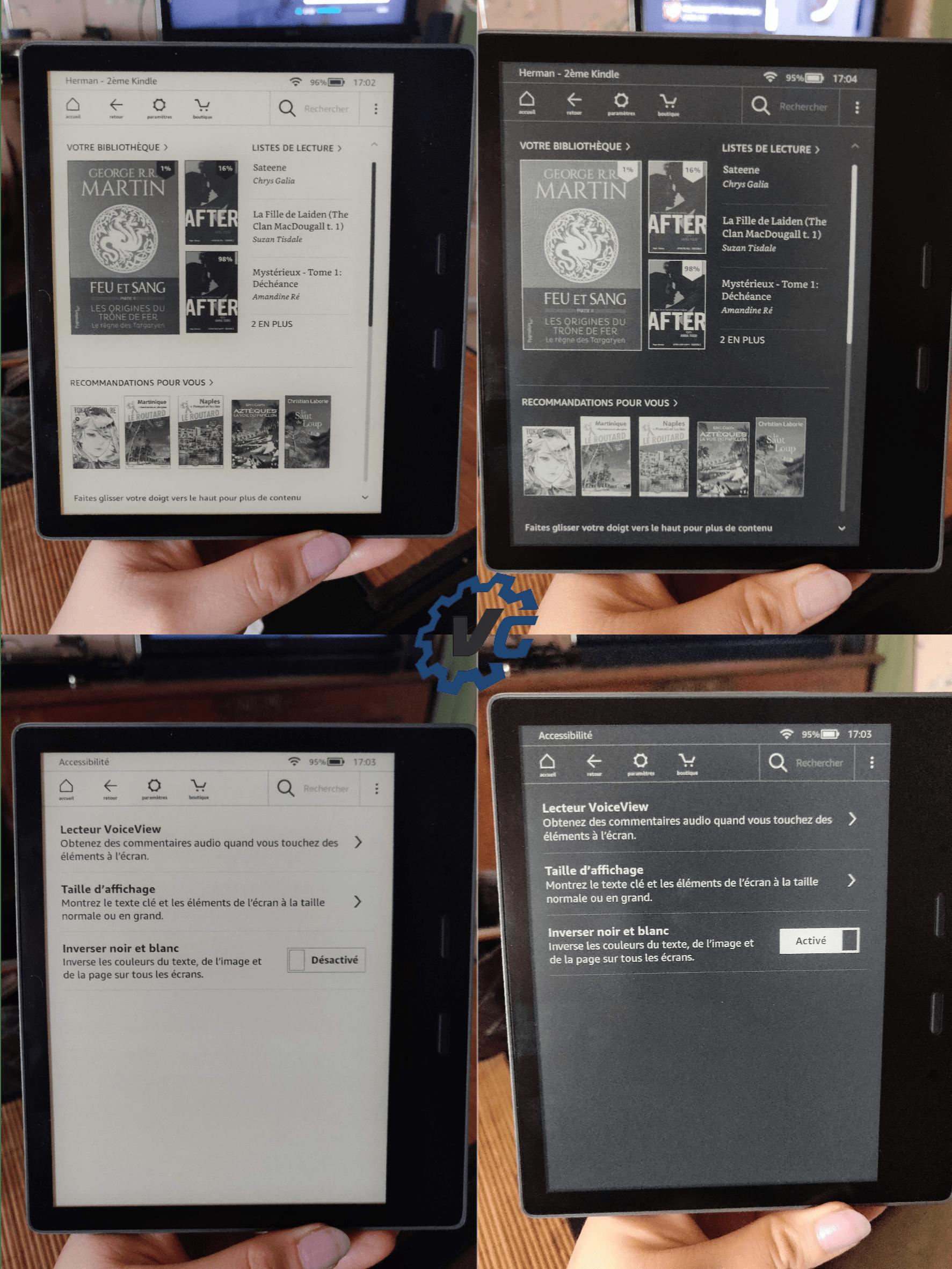 Kindle Oasis Amazon inversement blanc noir