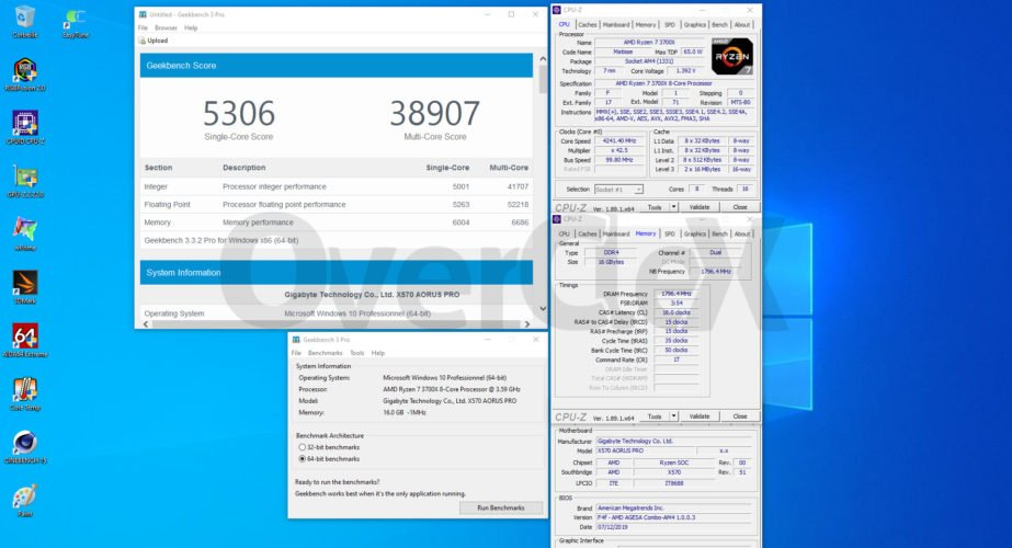 Overclocking du Ryzen 3700X sur la Gigabyte X570 Aorus PRO