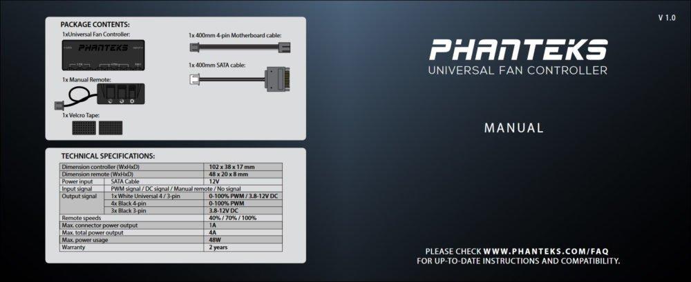 Le manuel d'installation du contrôleur de ventilateurs Phanteks