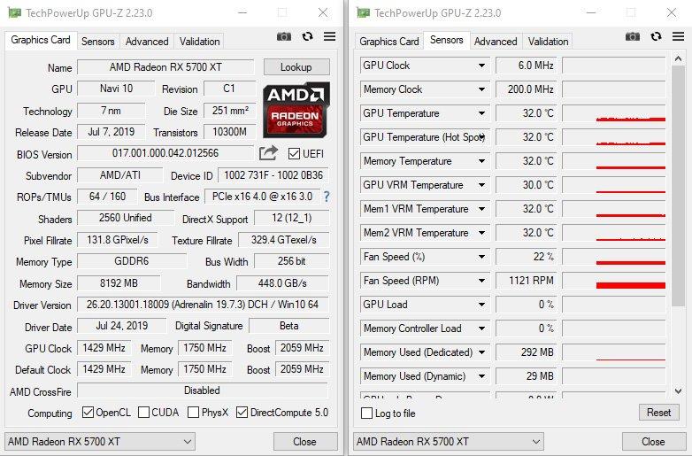 GPUZ de la AMD RX 5700 XT