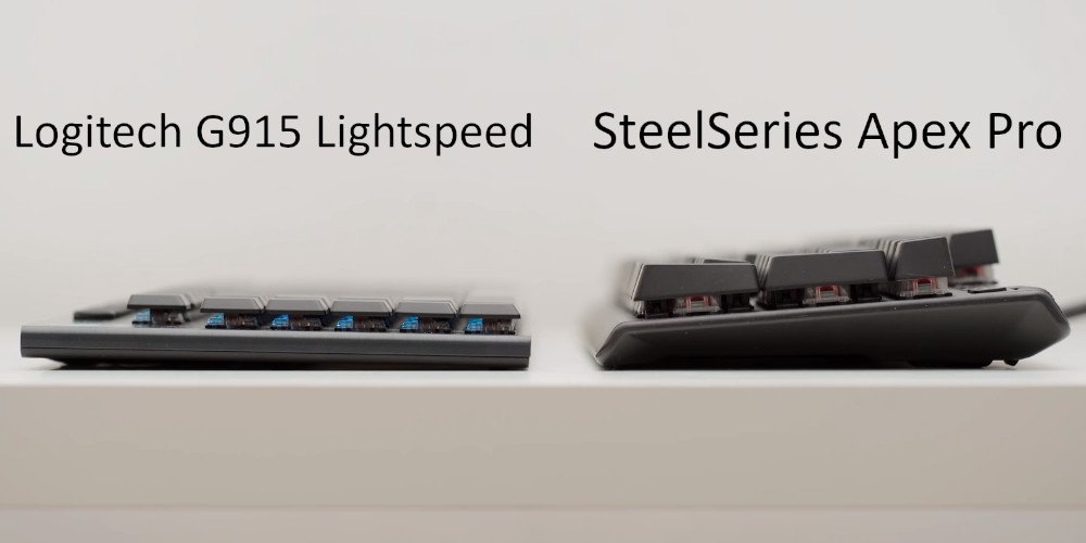 comparaison de hauteur entre le G915 et un clavier mécanique classique