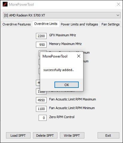 Le logiciel Morepowertool pour overclocker la RX 5700 XT