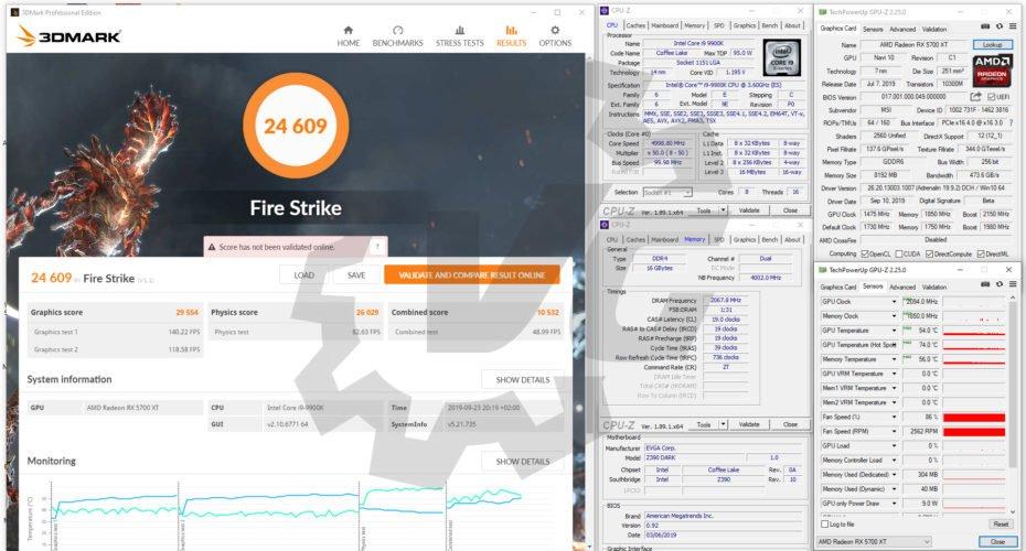 Benchmarks Fire Strike avec la MSI RX 5700 XT Gaming X