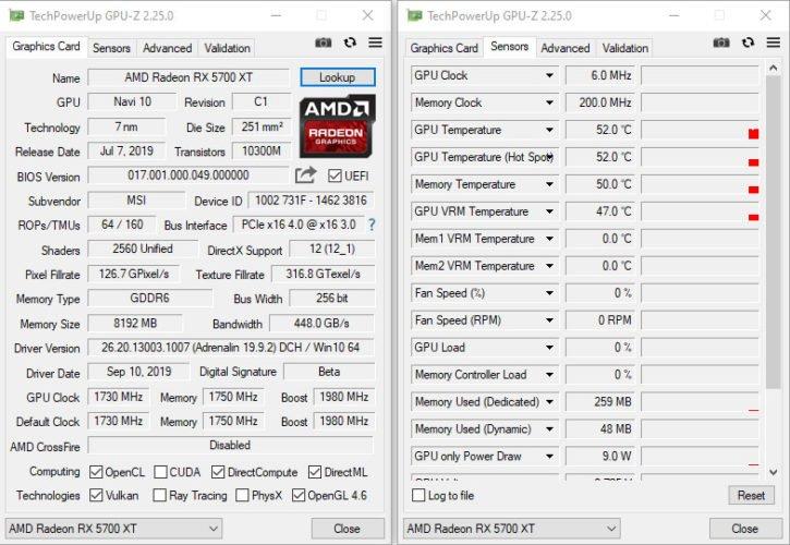 GPUZ avec la MSI RX 5700 XT Gaming X