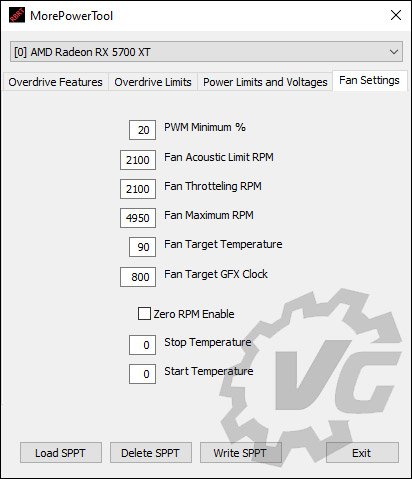 More PowerTool pour la 5700 XT Gaming X
