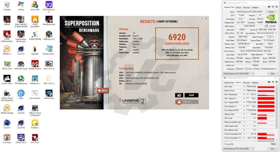 Résultat overclocking Superposition KFA2 RTX 2070 Super EX