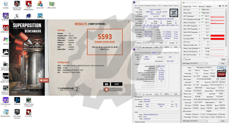 Benchmarks Superposition avec la MSI RX 5700 XT Gaming X