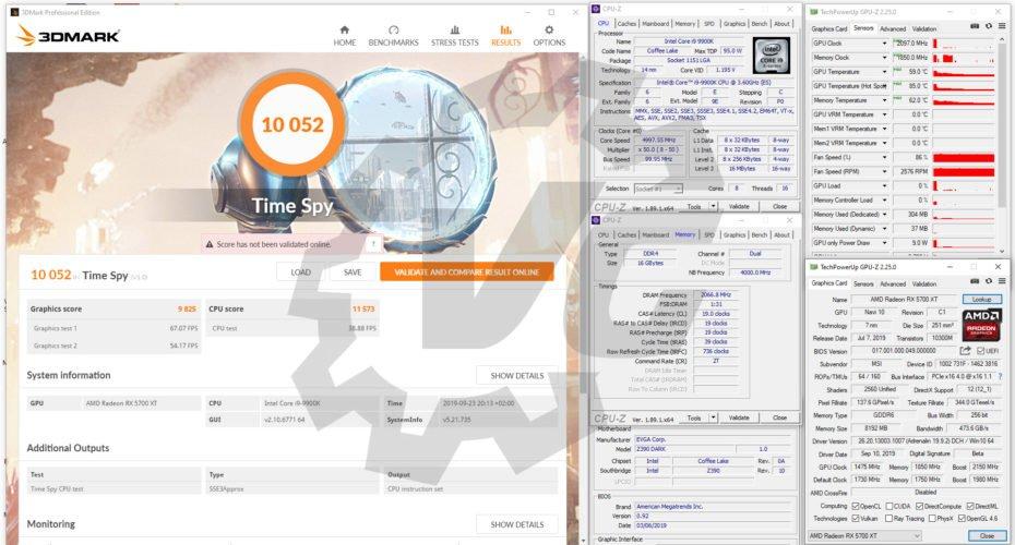 Benchmarks Time Spy avec la MSI RX 5700 XT Gaming X
