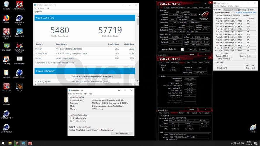 Geekbench 3 avec le 3900X à 4400 MHz