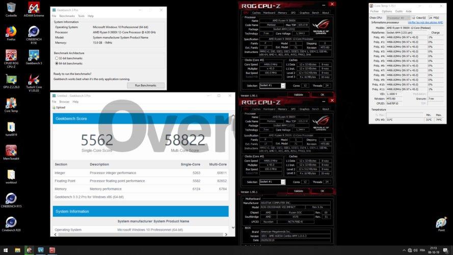 Geekbench3 à 4500 MHz avec le 3900X
