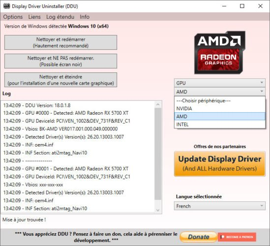 Le logiciel Display Drivers Uninstaller